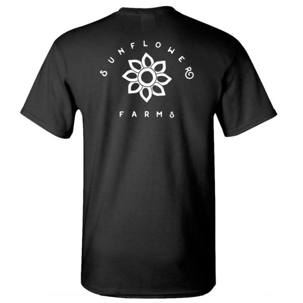 Sunflower Farms logo tee back - black